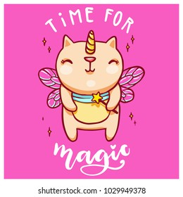 Cute unicorn cat with fairy wings and magic wand. Handwritten time for magic lettering. Vector colorful illustration.