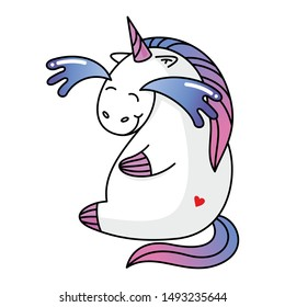 cute unicorn character, fountain of water from the eyes laughing. Print for baby clothes. Vector