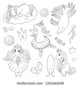 Cute unicorn character set, different pose, ballerina doodle, baby princess girlish line art, hand drawn vector illustration, outline drawing for coloring book page, embroidery template, kids print.