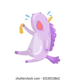 Cute unicorn character sitting and crying, funny magical animal cartoon vector Illustration