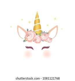 Cute unicorn character vector graphic design. Cartoon unicorn head with flower crown illustration for card and shirt design