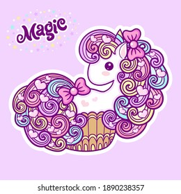 Cute unicorn cupcake on a pink background. Kawaii, child's drawing. Text magic. For the design of children's prints, posters, cards, stickers, badges. Vector