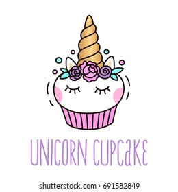 Cute unicorn cupcake on a white background. It can be used for card 7e5135206aaf