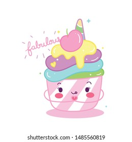 Cute Unicorn cupcake vector, Birthday bakery party, Kawaii animal pony cartoon, Doodle style Nursery decor: Illustration of fairytale horse- Magic for kid's greeting card, Print for t-shirt. hand draw