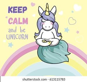 Cute unicorn doing meditation sitting on a rainbow in the sky. Vector illustration.