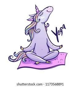 Cute unicorn doing yoga.