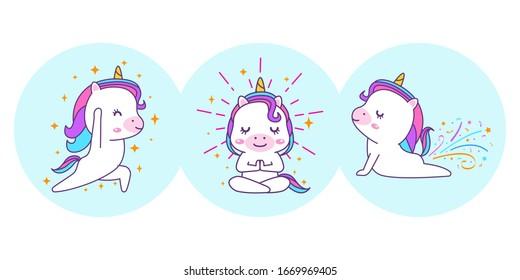 Cute unicorn is doing a yoga pose