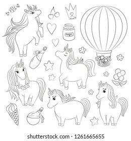Cute unicorn doodle set, characters different pose, magical objects, hand drawn vector illustration, baby girlish line art, drawing for children coloring book page, embroidery template, kids print.
