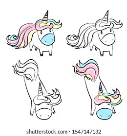 Cute unicorn drawing line and color vector for coloring book, print and poster.