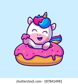 Cute Unicorn Eating Doughnut Cartoon Vector Icon Illustration. Animal Food Icon Concept Isolated Premium Vector. Flat Cartoon Style