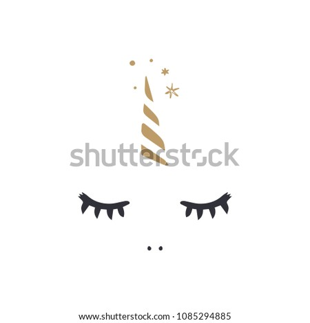 Cute Unicorn Face Elements Set Vector Stock Vector Royalty Free