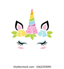 Cute unicorn face. Funny character with rose flowers. Card and shirt print design. Colorful vector illustration isolated on white background.
