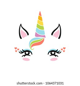 Cute unicorn face. Funny  character with beauty eyes, bang, horn. Card and shirt print design. Colorful vector illustration isolated on white background.