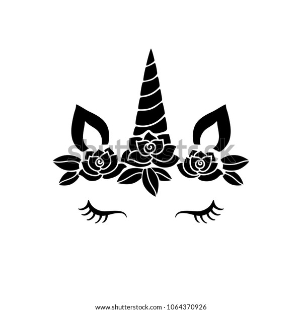 Cute Unicorn Face Funny Character Rose Stock Vector (Royalty