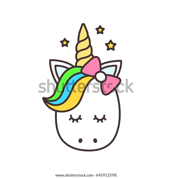 Vector De Stock Libre De Regalias Sobre Cute Unicorn Cara Dibujo De Personajes De645912598