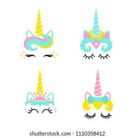 Cute unicorn face set.Unicorn head.Vector illustration.Cute illustration - card and shirt design.Cartoon eyelashes. Crown,bow decoration,super hero unicorn,kitty.