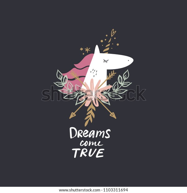 Cute unicorn face and sign, dreams come true. Magical print. Vector and jpg image. Clipart, isolated details, handcrafted.