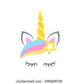 Cute unicorn face with star. Unicorn head. Vector illustration