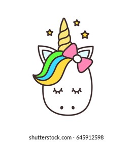 Cute unicorn face.Vector cartoon character illustration.Design for child card,t-shirt.Girls,kid.magic concept.Isolated on white background.Cute unicorn horse with gold horn and beauty rainbow hair