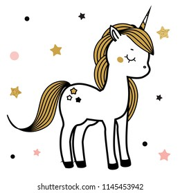 Cute unicorn. Fairy pony, magic horse. Illustration for print in scandinavian style.