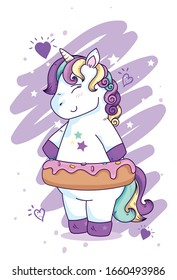 cute unicorn fantasy with stars and hearts decoration vector illustration design