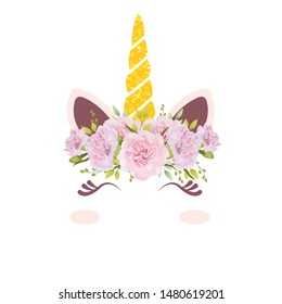 cute unicorn with floral crown
