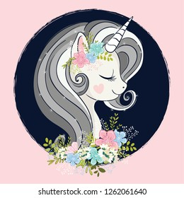 Cute unicorn with flowers.