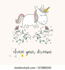 Cute unicorn and flowers greeting card. Magical unicorn vector poster.