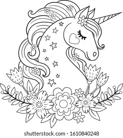 Cute unicorn with flowers. Isolated outline for coloring book