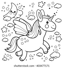 Cute unicorn flying in the night sky. Vector black and white coloring page.