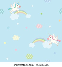 Cute unicorn flying on blue sky decorated with rainbow cloud and star design for seamless pattern.