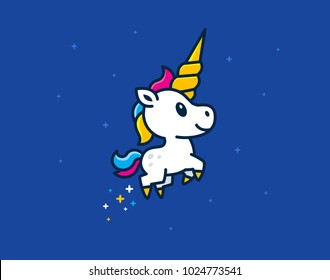 Cute Unicorn Foal with big horn CMYK ready to print, great for cute t-shirt, web mascot, logo design, cool stickers etc...  100% vector
