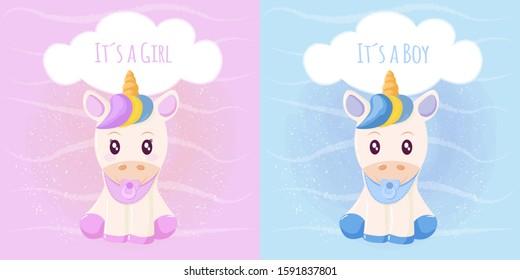 Cute unicorn it´s a girl it´s a boy. Vector illustration