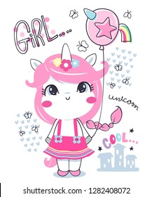 Cute unicorn girl cartoon wearing in pink dress holding a funny balloon isolated on white background illustration vector, T-shirt design for kids.