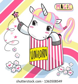 Cute unicorn girl with a scepter in popcorn box illustration vector.
