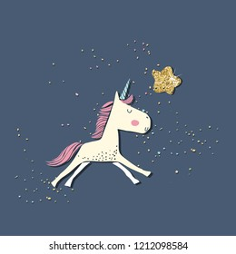cute unicorn and gold star