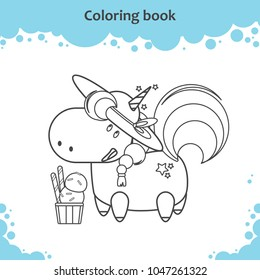 Cute unicorn with hat and ice cream. Coloring page for kids.