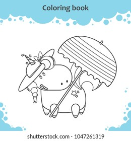 Cute unicorn in hat under parasol on a beach. Coloring page for kids.