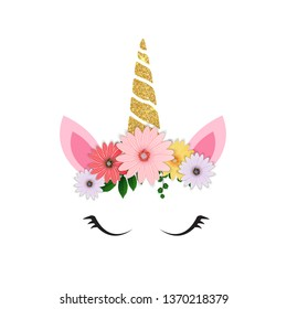 Cute unicorn head and eyes with flower. Vector Illustration EPS10