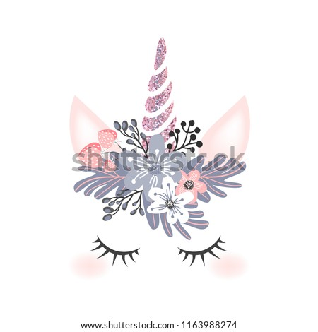 Cute unicorn head with flower crown and rosegold glitter horn isolated on  white background. Vector 20b259b06aa
