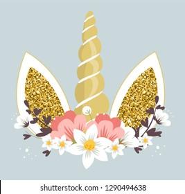 Cute unicorn head with flowers. Vector Illustration