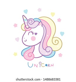 Cute Unicorn head vector, Unicorn icon, Pony cartoon (Kawaii animal): Fabulous fashion fairytale horse party invite- sticker graphic Magic for invitation post, t-shirt, nursery décor. hand drawn