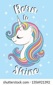 Cute unicorn illusration