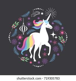 Cute Unicorn,  illustration for Christmas card