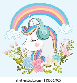 Cute unicorn illustration with flowers.