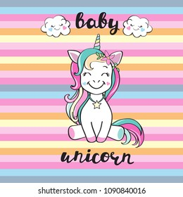 Cute unicorn and inscription baby unicorn