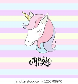 Cute unicorn and inscription magic on textured background. Good for logo, sticker, badge, print, baby birthday, invitation, greeting card, t-shirt design. Lettering typography. Vector.