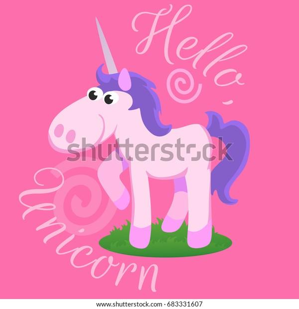 Cute Unicorn Isolated Set Magic Pegasus Stock Vector