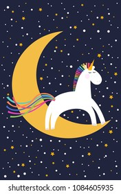 Cute unicorn jumping over the moon