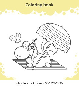 Cute unicorn lies under parasol on a beach. Coloring page for kids.